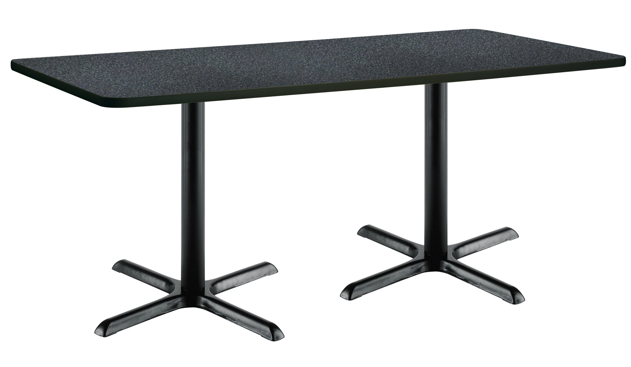 36'' x 72'' Pedestal Table with Graphite Nebula Top, Black X-Base by KFI Seating