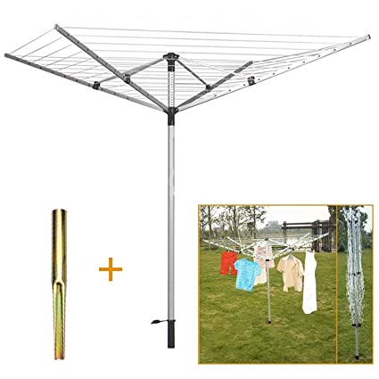 Stainless Steel 4 Arm 40M Rotary Airer Clothes Dryer Outdoor Washing Line Ground Spike