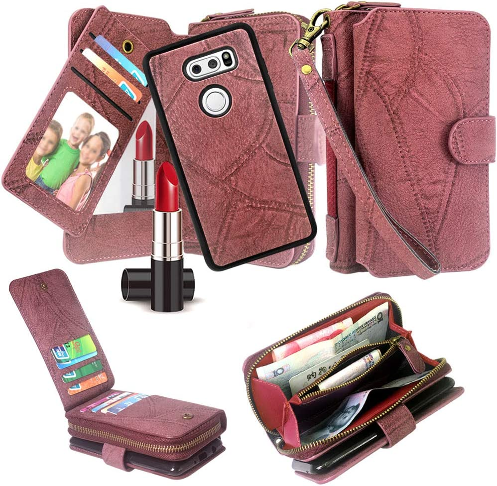 LG V40 ThinQ Case, Harryshell Luxury Detachable Magnetic Zipper Wallet Case Clutch Purse 11 Card Slots Mirror Hand Strap for LG V40 ThinQ / V40 (Wine)
