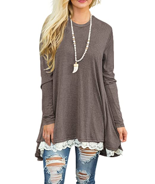 Sanifer Women Lace Long Sleeve Tunic Top Blouse (Small, Coffee)