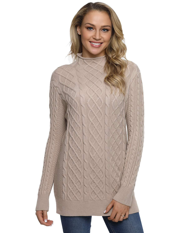 PrettyGuide Women's Sweater Long Sleeve Mock Neck Pullover Tunic Sweaters M Camel by PrettyGuide