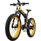 LANKELEISI 26'' Fat Folding Electric Bicycle 48V 10Ah Shimano 27 Speed Full Suspension Snow Mountain MTB E-Bike with 1000W Motor,Dual Hydraulic Disc Brake