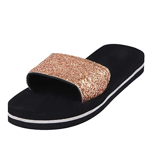 03c738a801d3 Bhains Ki Ankh Women s Glitter Strap Golden Rubber Flip Flops Slipper  (SALIPAR CHINI GOLDEN37)