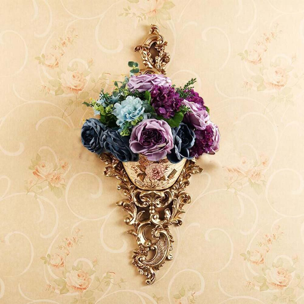 HOMEE Flower Rack European-Style Home Retro Wall Decoration Background Wall Vase Decorations Living Room Bedroom Wall Decoration (Multiple Styles Available) --Home Environment Decorations,B