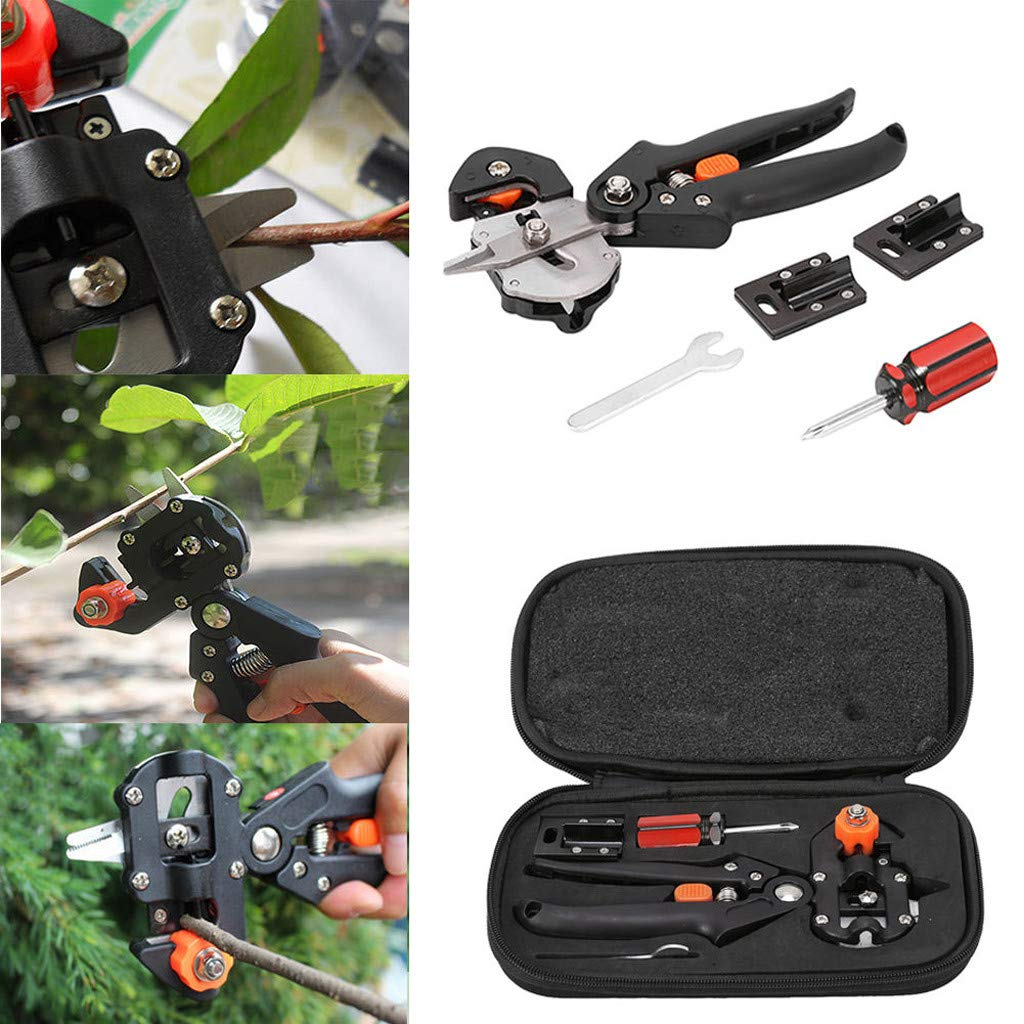 Garden Grafting Pruning Shears Grafting Cutting Tool Professional Plant U/V/Ω Cutting Scissors with Blades Screw Driver Wrench for Fruit Tree Branch Shears (Black)