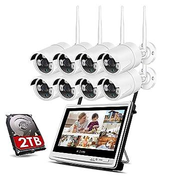 SSCJ Sistema de cámaras de Seguridad inalámbricas Todo en 1 con Monitor LCD de 12