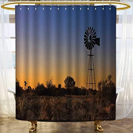 Windmill Shower Curtain Sunset Rural Outdoors Print for Bathroom