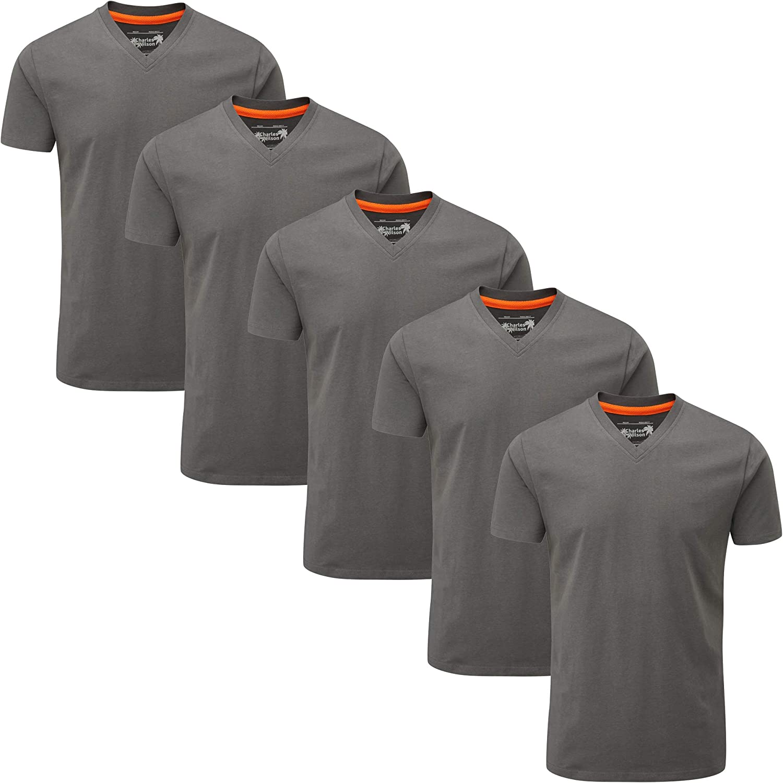 Charles Wilson 5 Pack Plain V-Neck T-Shirt