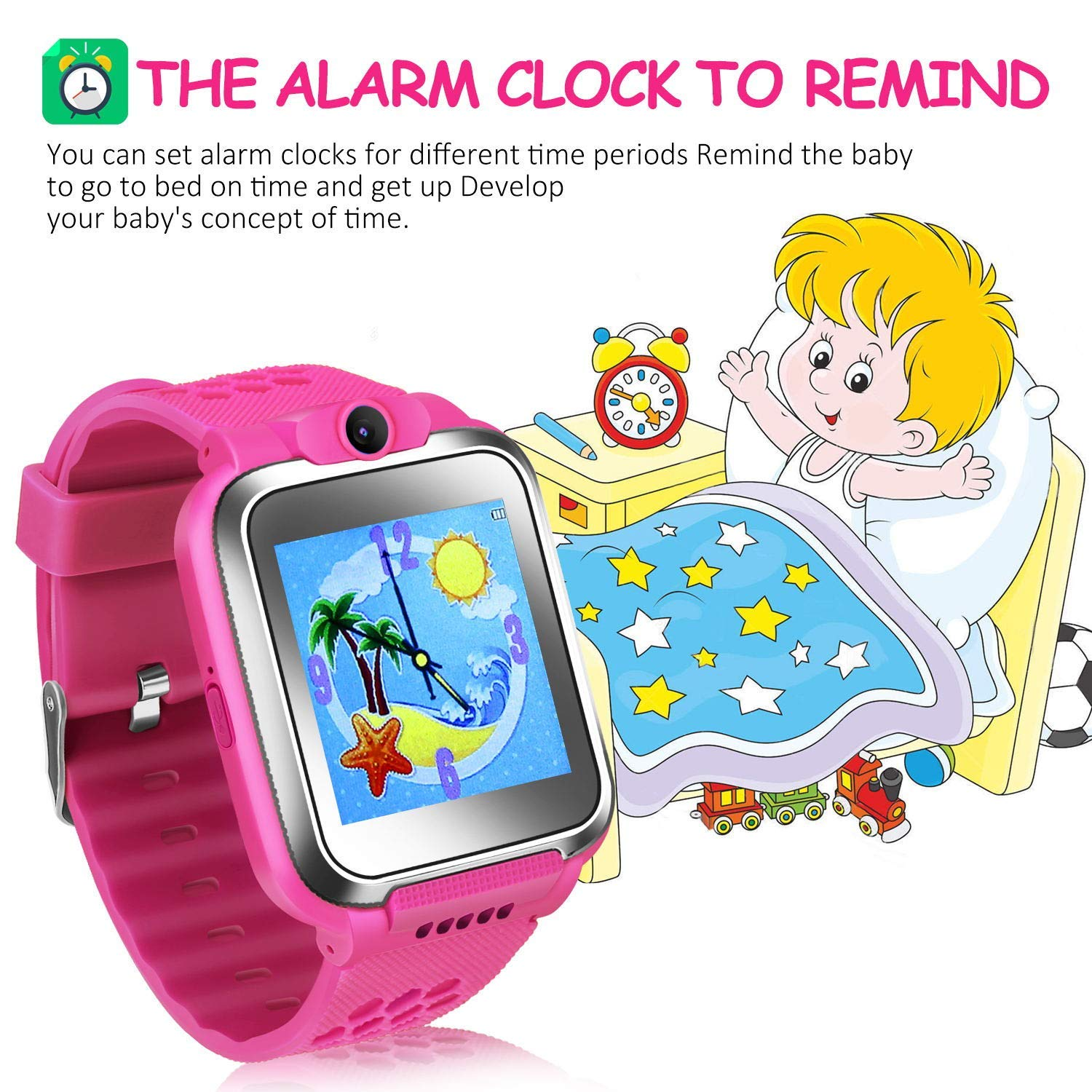 ZOPPRI Kids Game smartwatch Touch Screen Kinds of Games Kids Watch Theme Calendar Stopwatch Alarm Clock Photo Timer Multi-Function Watch Toy Gift for 3-12 Years Old boy Girl Birthday Gift (Pink) by ZOPPRI (Image #2)