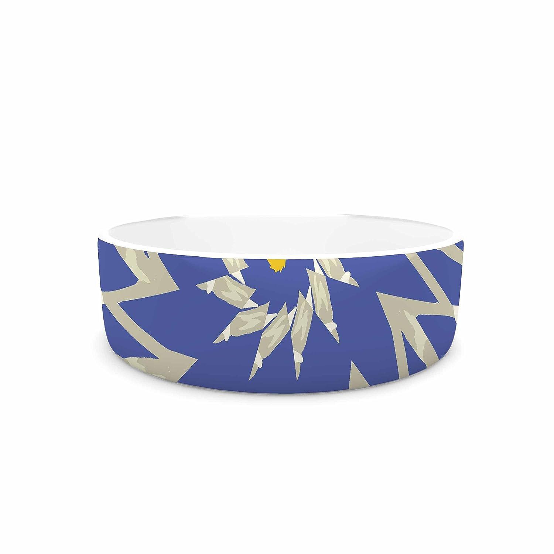 KESS InHouse Laura Nicholson Sawtooth Flower  bluee Nature Pet Bowl, 7