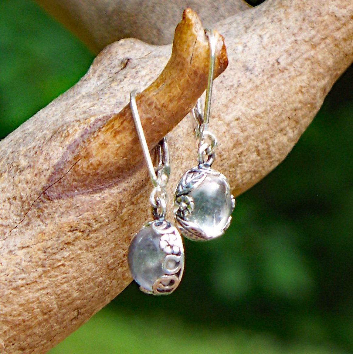 Recycled Vintage Clear Milk Bottle Sterling Silver Botanical Leverback Earrings