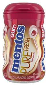 Mentos Pure Fresh Sugar-Free Chewing Gum with Xylitol, Cinnamon, Non Melting, 50 Piece Bottle