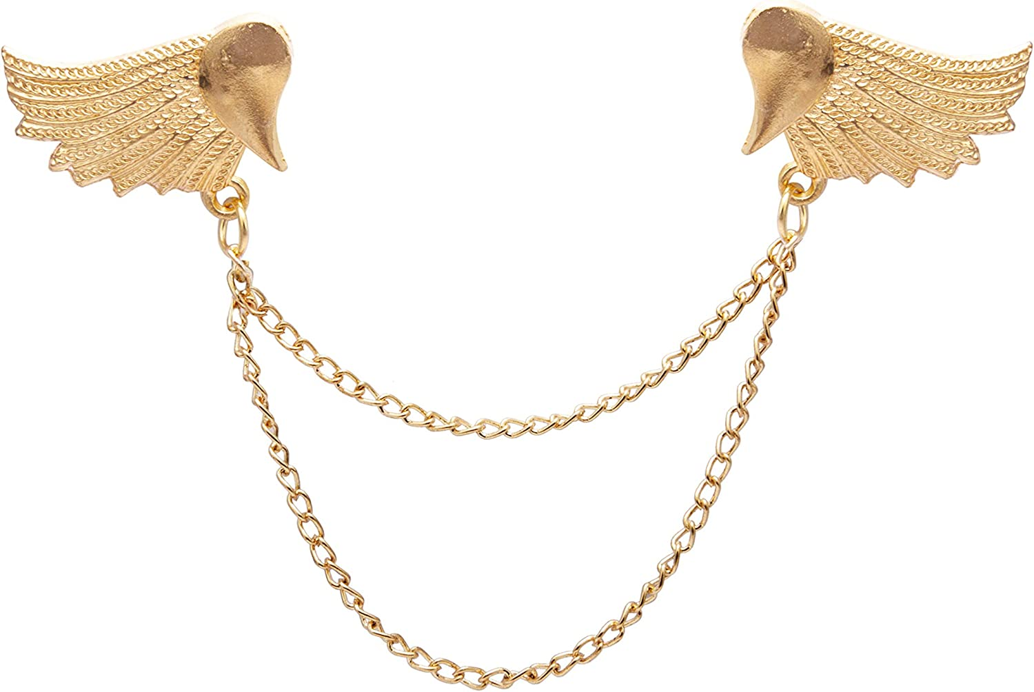 Knighthood Golden Wing Pair With Hanging Chain Alloy Brooch/Collar Pin/Lapel Pin for Men