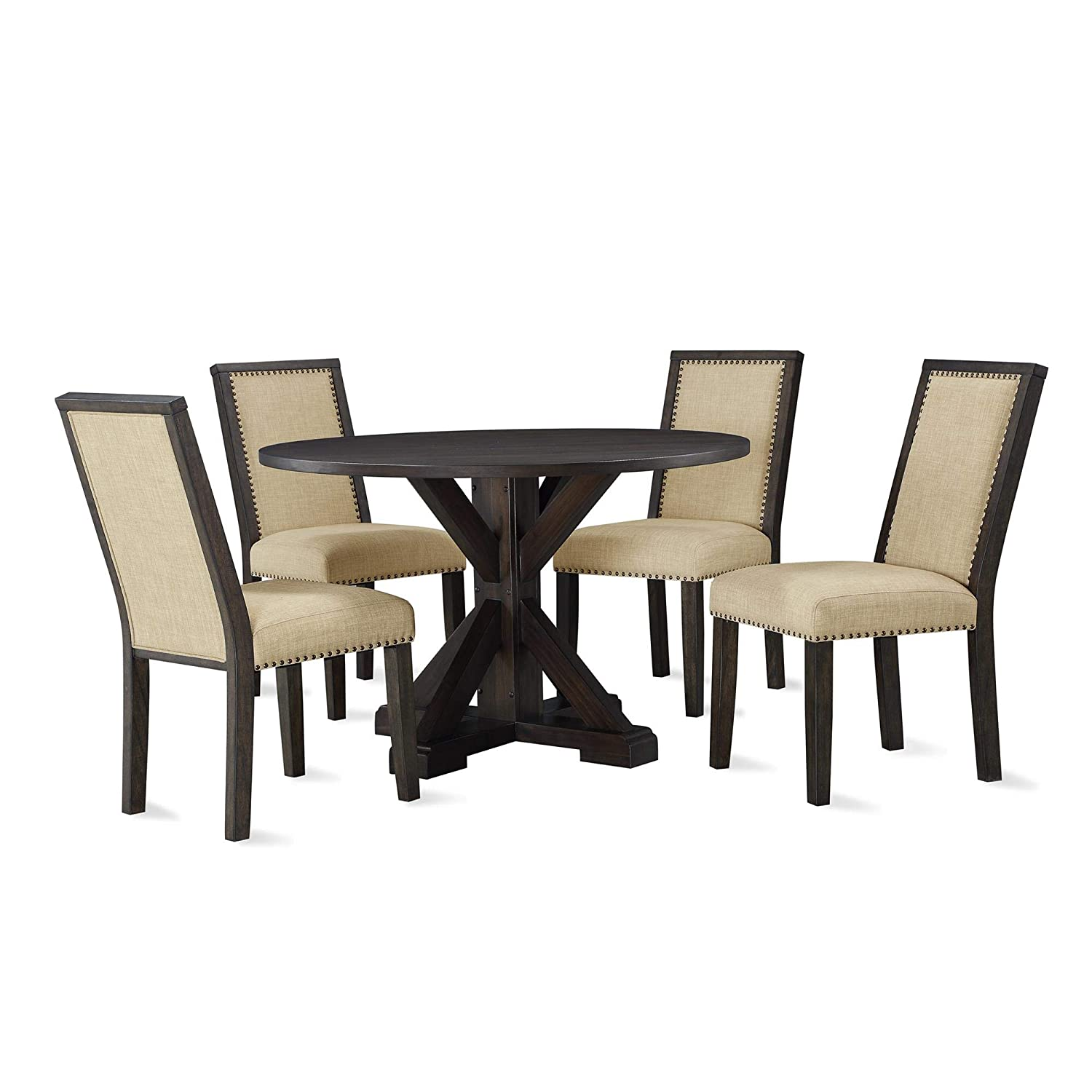 Lanley 5-Piece Round, Rustic Brown Dining Set,
