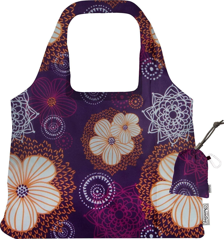 新しいパープルFlourish再利用可能なLarge Shoulder Grocery Tote Bag with Iceパックコンボ   B07FX25D9N
