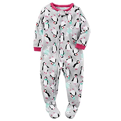 f9b9cb3d4d77 Carters Baby Girls 1-Piece Footed Fleece Pajamas Pjs Grey Penguin 18 ...