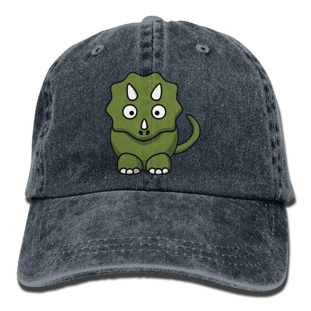 XZFQW Cute Triceratops Cartoon Trend Printing Cowboy Hat Fashion Baseball Cap For Men and Women Black
