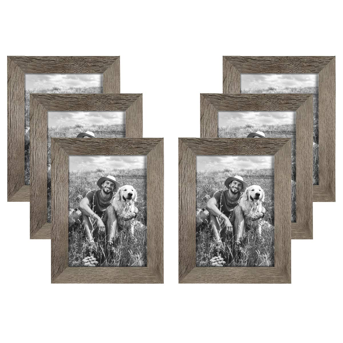 NUOLAN 5x7 Picture Frame Rustic Gray Wood Pattern Art Photo Frames 6 Packs for Wall or Tabletop Display (NL-PF5X7-RG) by NUOLAN
