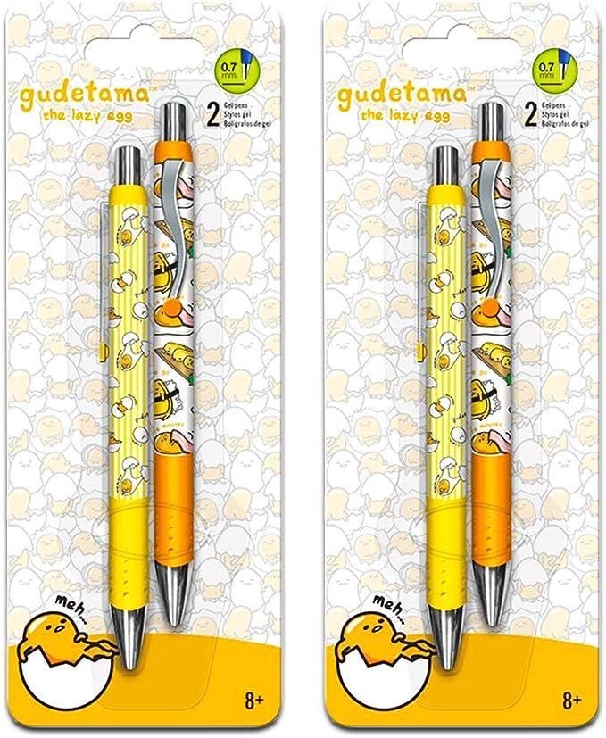 Gudetama - Juego de 4 bolígrafos de gel con agarre cómodo (merchandising Gudetama): Amazon.es: Oficina y papelería