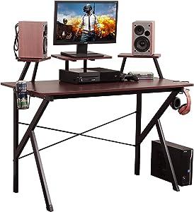 Soges Gaming Desk 47 inches Computer Desk Workstation Desk with Adjustable Support Panel, Cup Holder, Basket Hook, Studio Desk Walnut YX001-120-WA