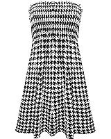 Home of Fashion Black White Dogtooth Print Sleeveless Shearing Bandeau Tunic Top