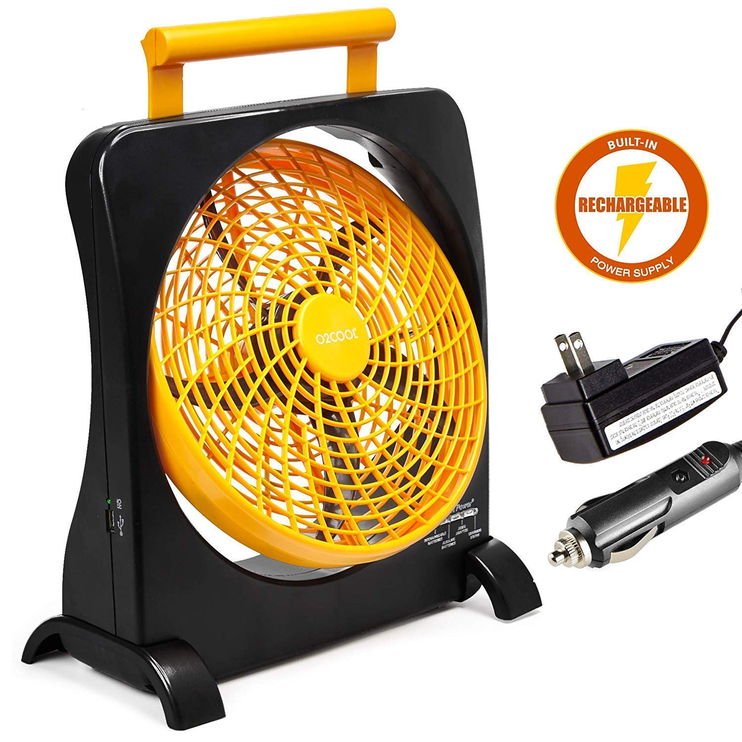 O2COOL 10'' Battery Operated Fan - Portable Smart Power Fan with AC Adapter & USB Charging Port for Emergencies, Camping & Travel Use (Orange) (Renewed) by O2COOL