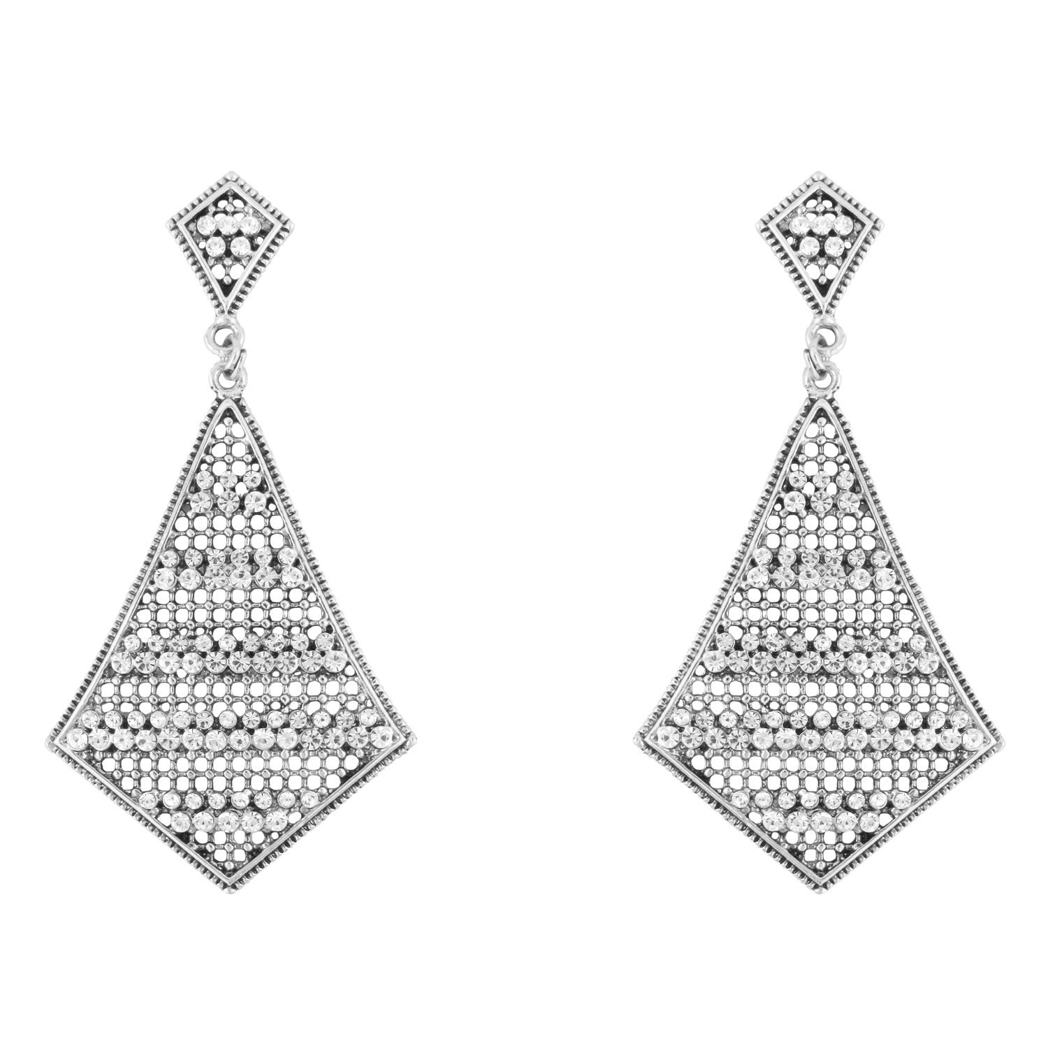 Donna Fashion White Kite Diamond Rhodium Plated Dangler Earrings with Crystals for Women ER30069R