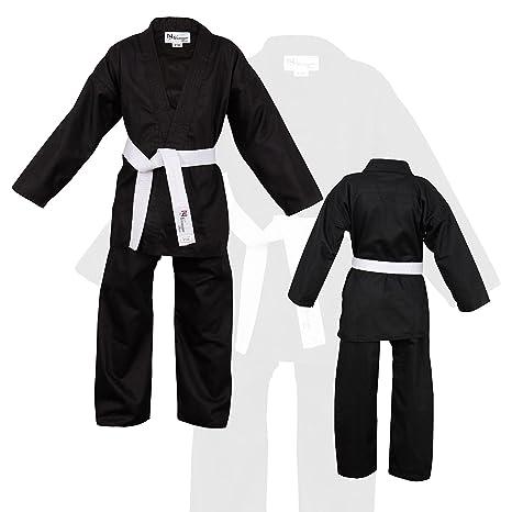 Norman Negro Niños Karate Traje Libre Blanco Cinturón Niños ...