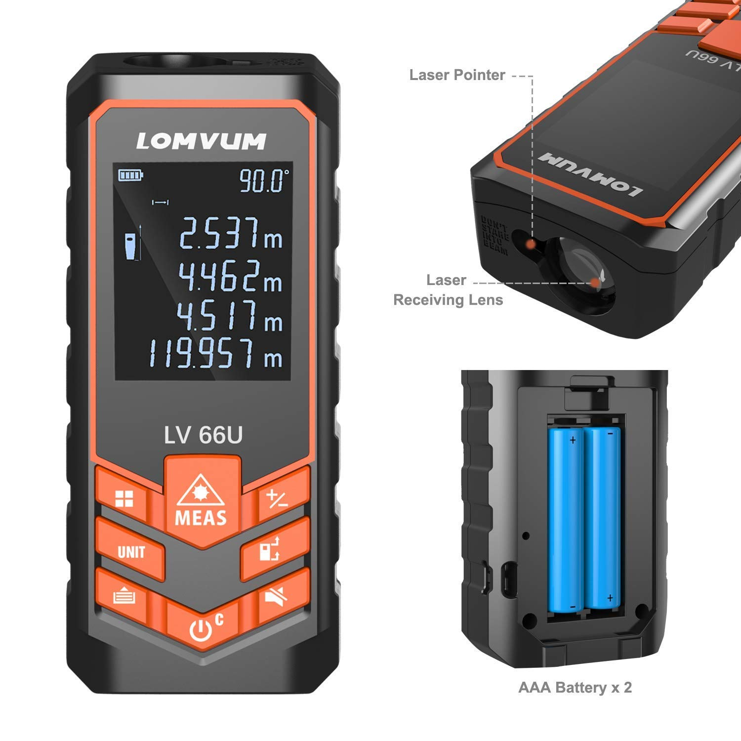 120m Laser Measure,LOMVUM 393ft Digital Laser Distance Meter with Mute Function Large LCD Backlight Display,Measure Distance,Area and Volume,Pythagorean Mode Battery Included