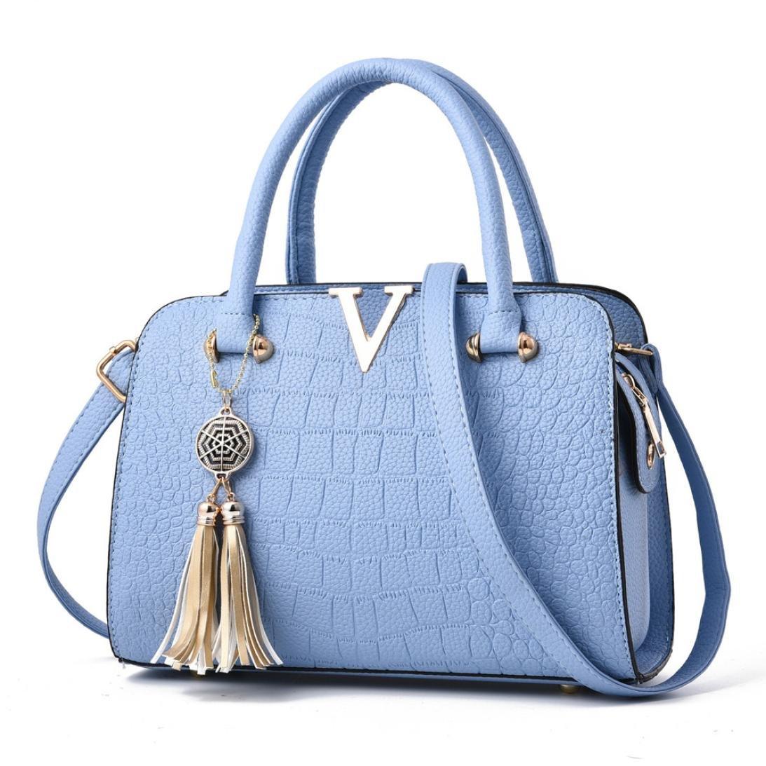 688f6f92444 Neartime Women Handbag, 2018 Woman s Tassel Crossbody Bags Leather Satchels Alligator  Pattern Zipper Shoulder Bag (❤️28cm(L)×13cm(W)×20cm(H), Light blue)