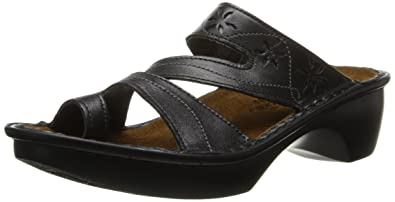 Naot Women's Montreal Wedge Sandal, Midnight Black Leather, 35 EU/4.5-5