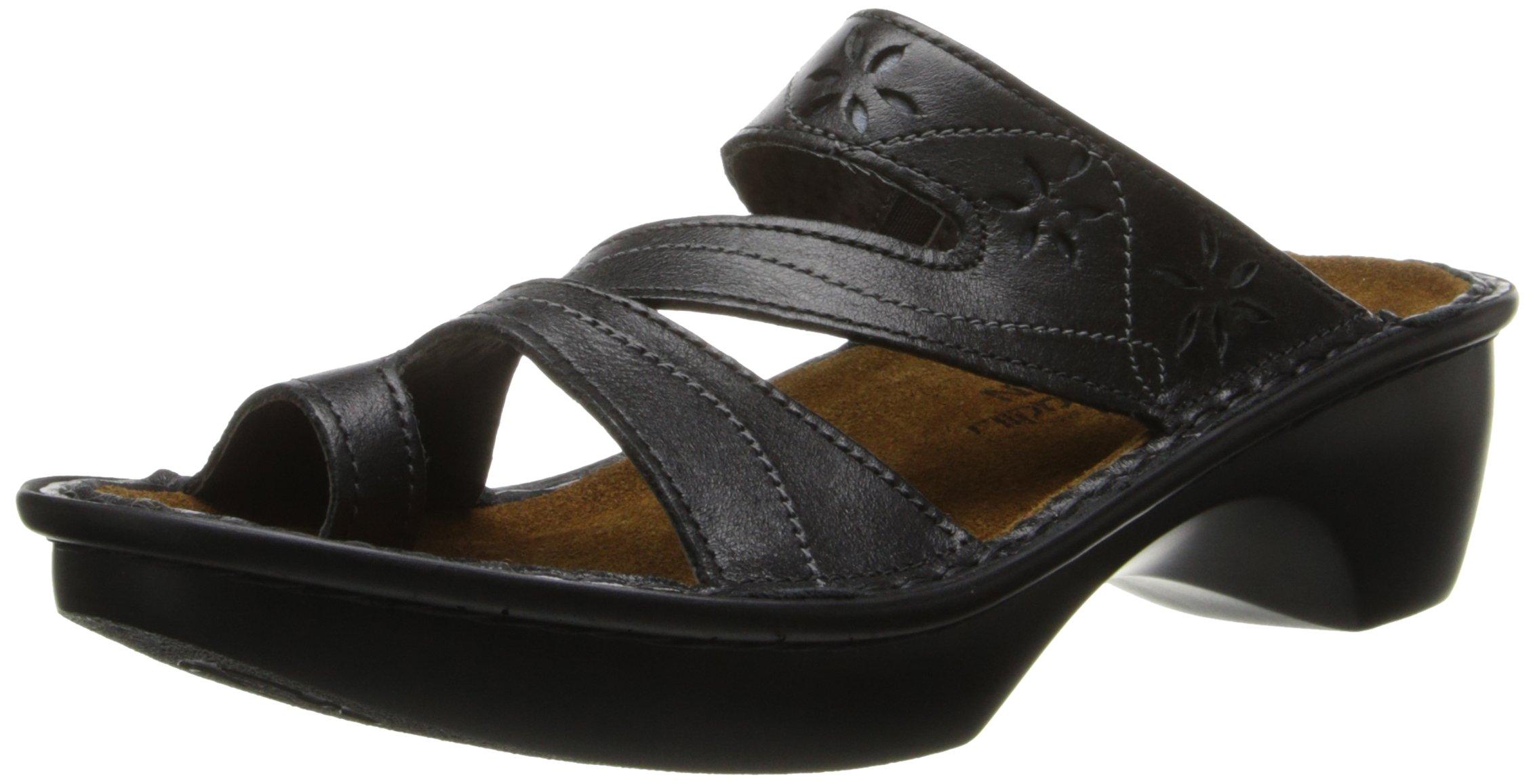 Naot Women's Montreal Wedge Sandal, Midnight Black Leather, 39 EU/7.5-8 M US