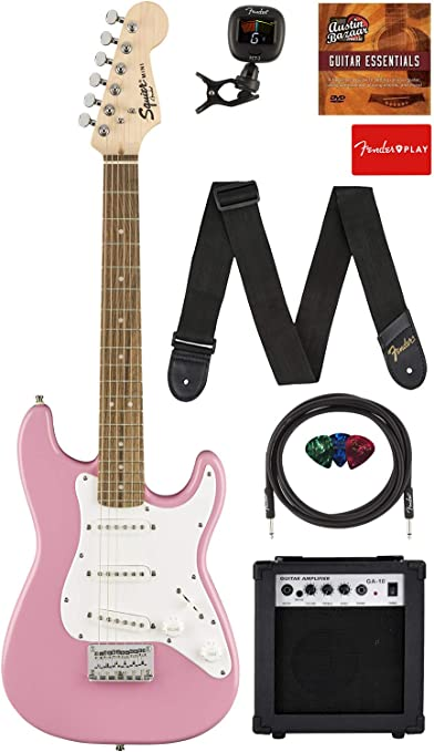 Squier por Fender Strat Guitarra eléctrica (– Rosa) con ...