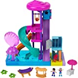 Polly Pocket Pollyville Super Slidin' Water Park with Micro Polly & Lila Dolls, Water Park with Water Feature, 3 Slides, Jell