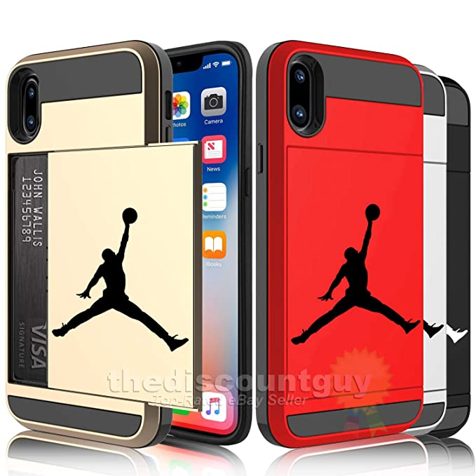 new concept f399d f65fa 🔥 iPhone X - Dual-Layered Credit Card 💳 ID Storage Basketball Michael  Jordan Compartment Phone Case to Store Money 💵 Cash with Slide Wallet ...