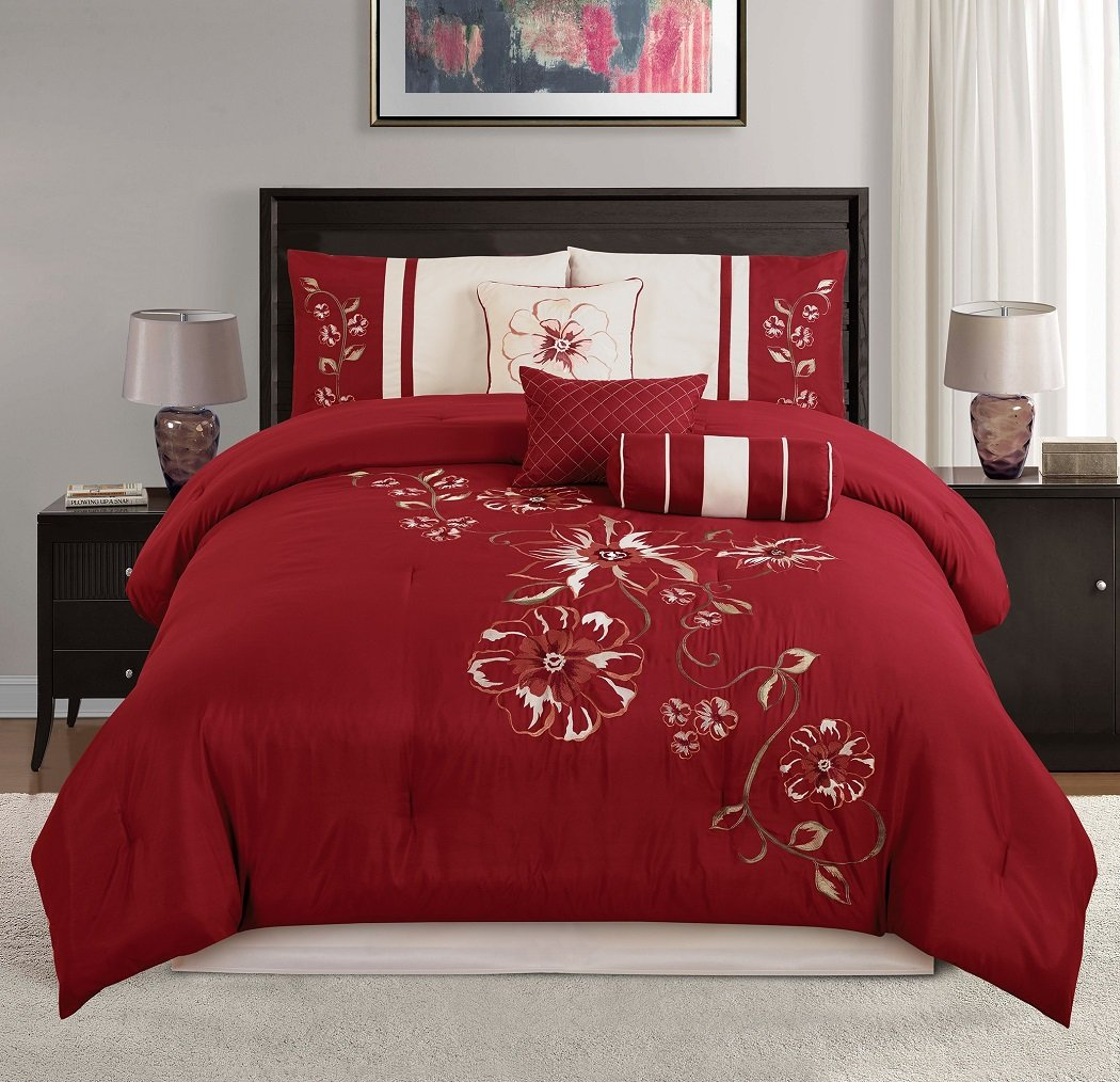 Red Floral Hibiscus Embroidery Beige Comforter Bedding Set