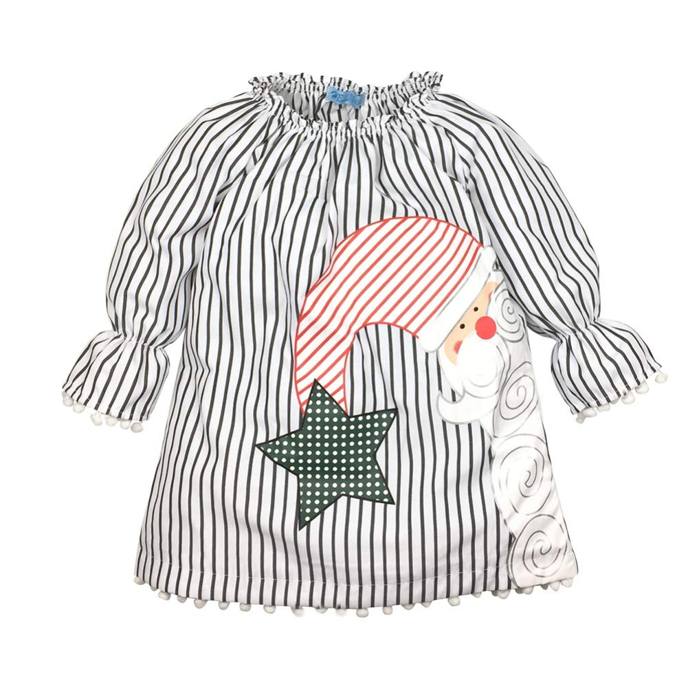 BOBORA Girls Christmas Dress, Baby Girls Long Sleeve Santa Striped Princess Dress Christmas Outfits Clothes for 0-5Years BO-UK1017