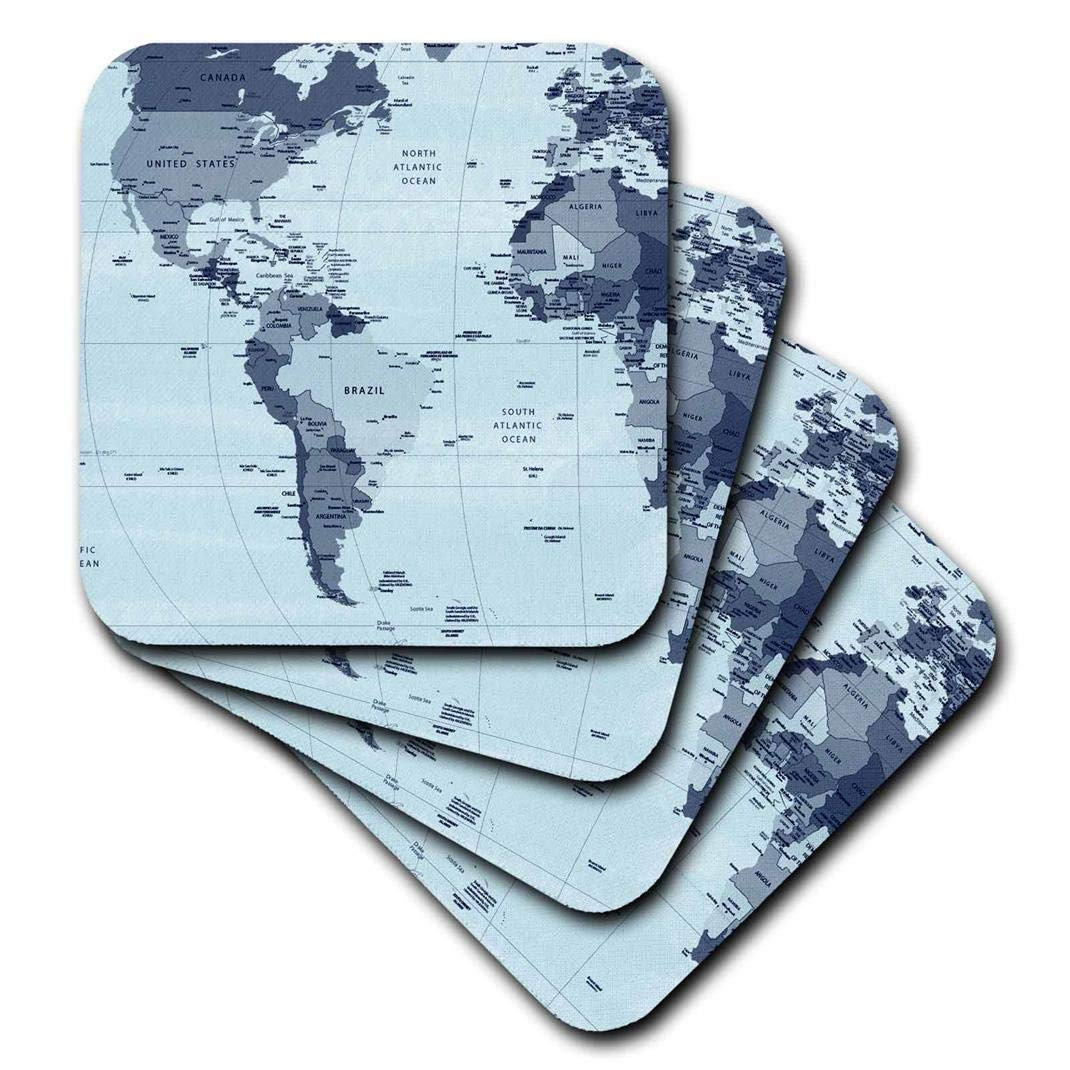 3dRose CST/_202339/_3 North /& South America Maps Ceramic Tile Coasters, Set of 4