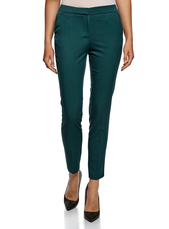 TALLA ES 44 / XL. oodji Collection Mujer Pantalones Clásicos Ajustados con Bolsillos Laterales