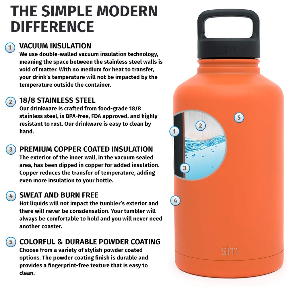 Simple Modern 40oz 84oz Summit Water Bottle Extra Lid 64oz Wide Mouth Vacuum Insulated 18//8 Stainless Steel Powder Coated