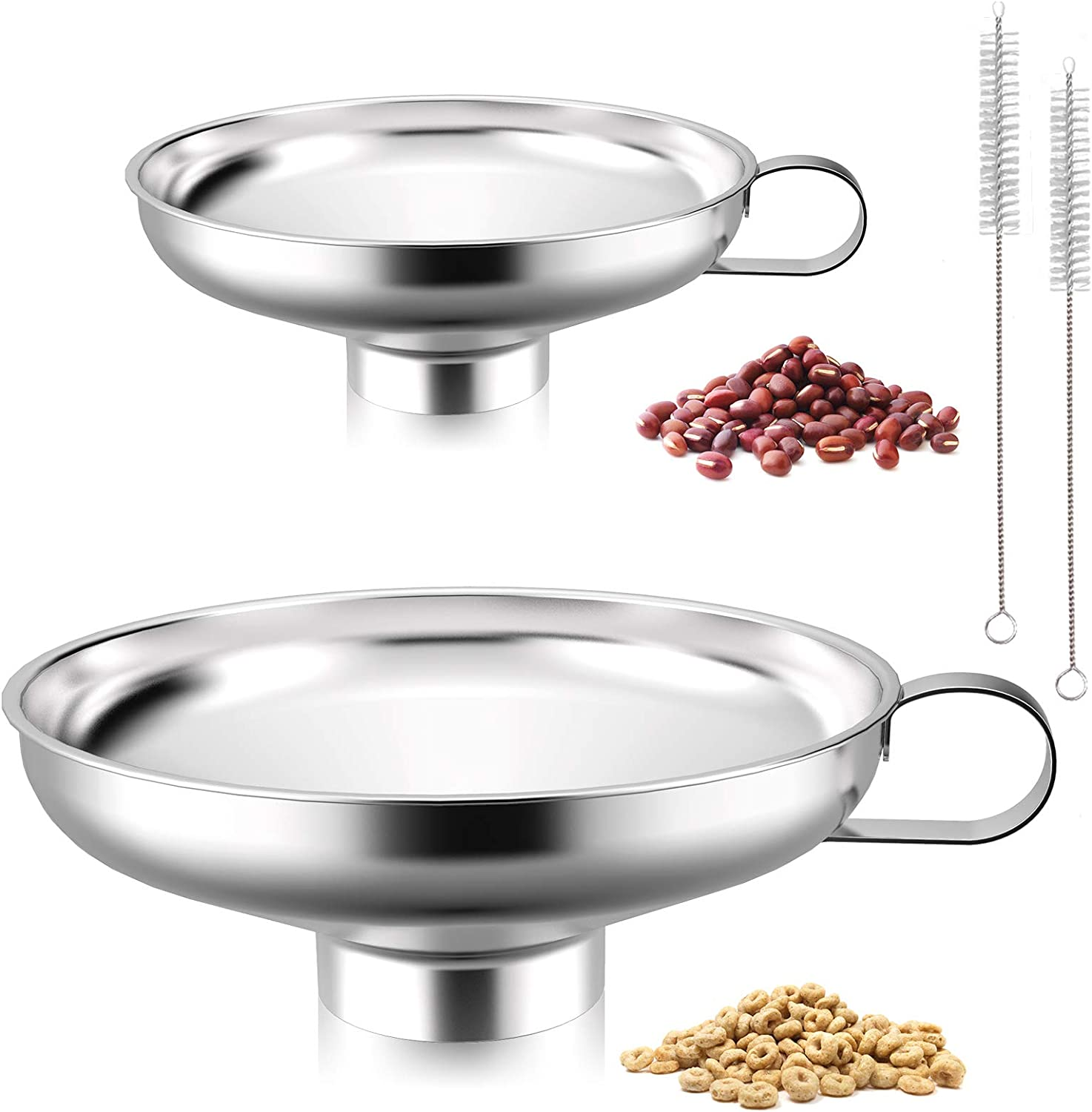 2 Pack Set Canning Funnel Stainless Steel Kitchen Food Grade Metal with Handle & 2PK Brush, Transferring Cooking Oils Liquid Fluid Dry Ingredients, for Regular Wide-Mouth Mason Jar, Neck 2.1'' & 1.4''