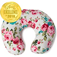 Minky Nursing Pillow Cover | White Floral Pattern Slipcover | Best for Breastfeeding Moms | Soft Fabric Fits Snug On Infant Nursing Pillows to Aid Mothers While Breast Feeding | Great Baby Shower Gift