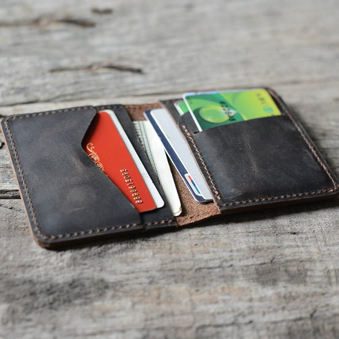Engraving Personalized Men's Minimalist Leather Wallet Wallet Card Holder Distressed Wallets for Gifts - | Dark Brown