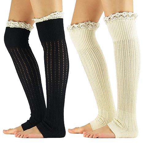 74fb8c95e127a5 Zando Wowen Cable Knit Leg Warmers for Girls Crochet Cuffs Socks Leggings  Lace Button Boot Long