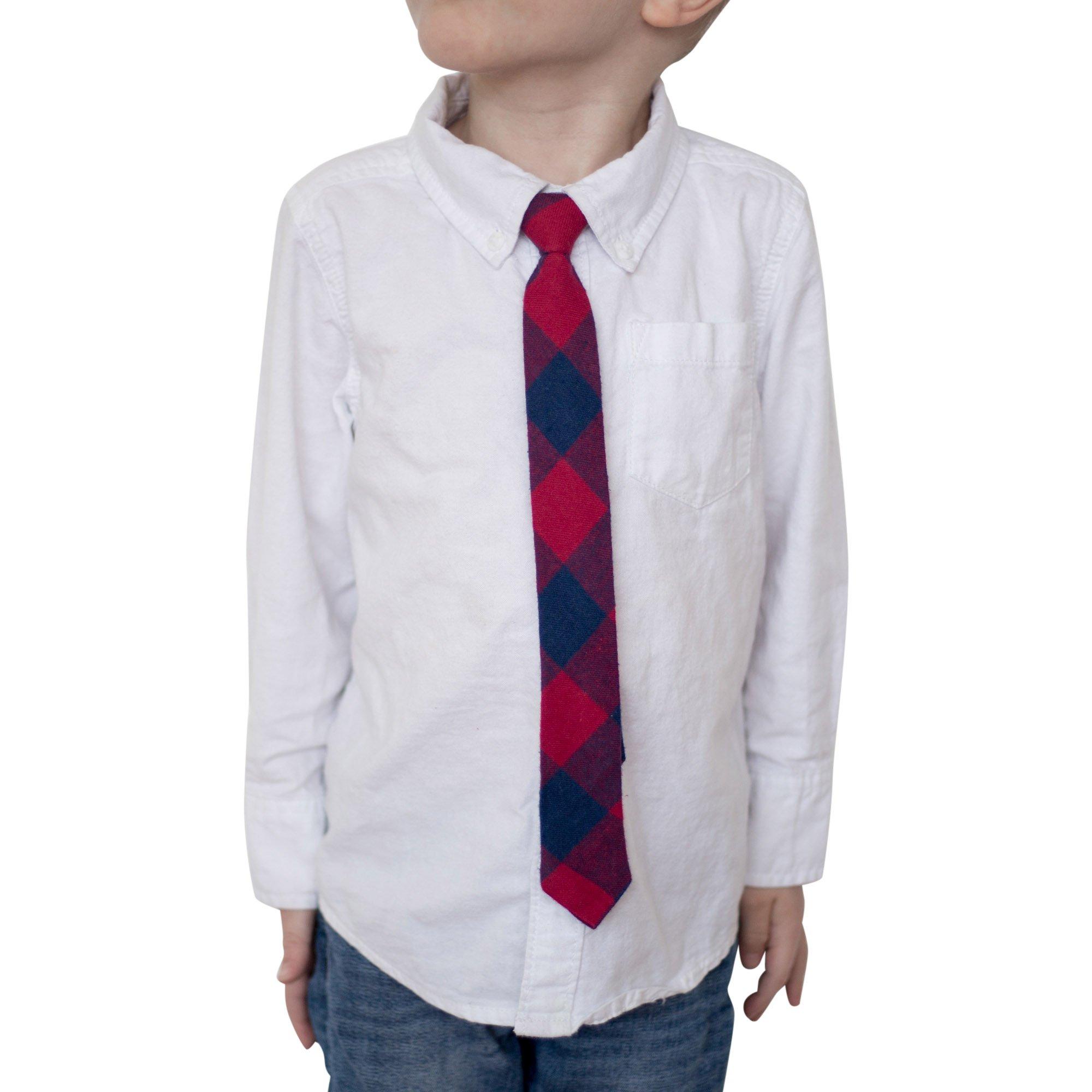 Kids Cotton Skinny Tie, Red Plaid 1.5'' (4 cm)