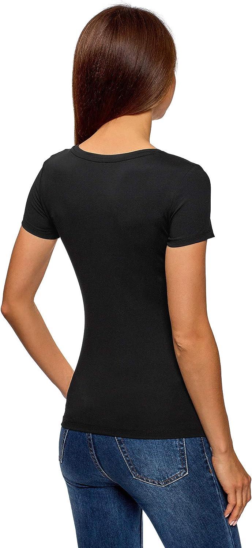 oodji Ultra Femme T-Shirt Basique /à Col Rond