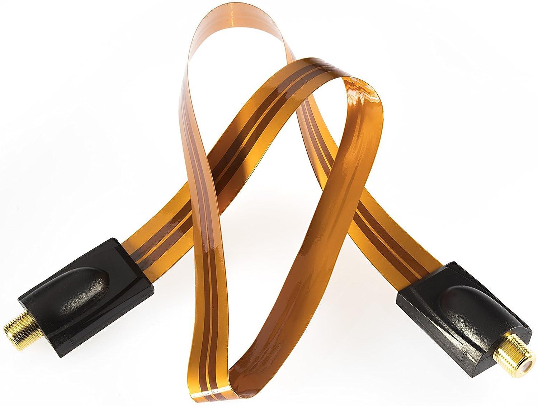f/ür Koax Kabel Kupplung flach 2 mm wei/ß T/ürdurchf/ührung 2x F-Stecker 1x auf Antennenstecker, 1x auf Antennenbuchse Poppstar 1x 31,5cm SAT Fensterdurchf/ührung