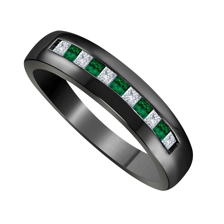 。925スターリングシルバー仕上げ合金&ブラックロジウムメッキメッキシミュレートダイヤモンド0.50 CTプリンセスカット& CZ Lab Created Green Emeraldブライダル結婚記念バンドリングメンズジュエリー B077S4NSTJ 11