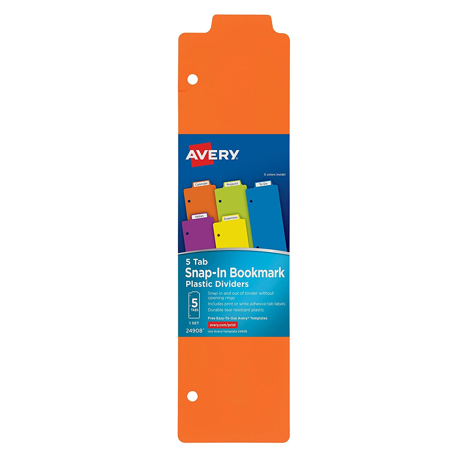 Avery Snap-In Plastic Bookmark Dividers, 5 Tabs, 1 Set, Multicolor (24908) Avery Products Corporation