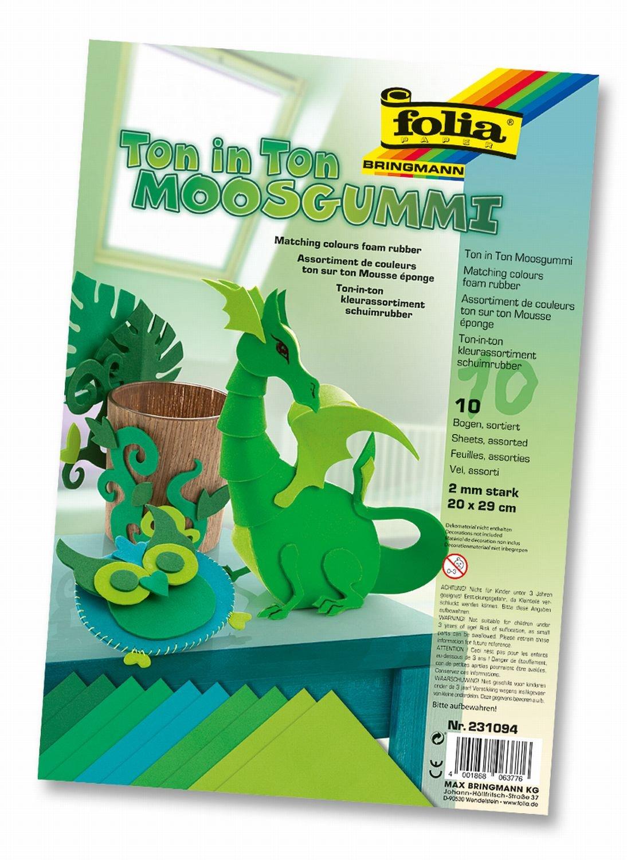Idena Folia 231094 - Set di 10 fogli in gommapiuma per fai da te, toni del verde Iden Nürnberg GmbH ( Bruder / Fasching )
